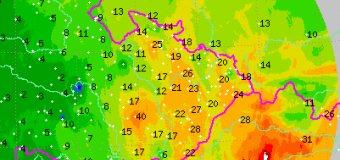 Na SV Moravy napršelo až 40 mm